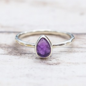 February Amethyst Ring | Bohemian Festival Gypsy Jewels | Indie and Harper